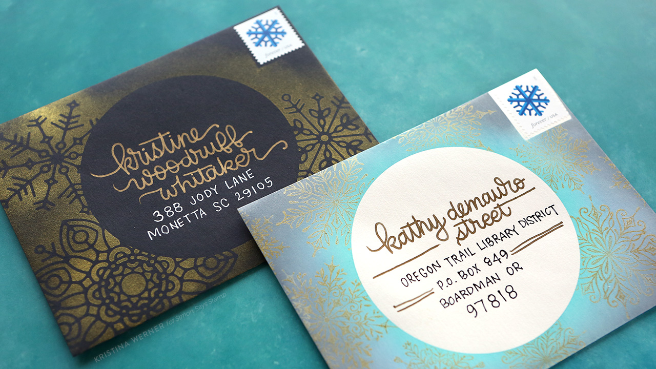 Holiday Mail Art – Masked & Ink Blended Snowflakes