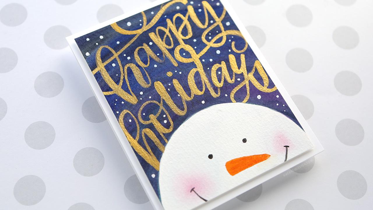 Holiday Card Series 2017 – Day 21 – Minimal Supplies, Watercolor Snowman