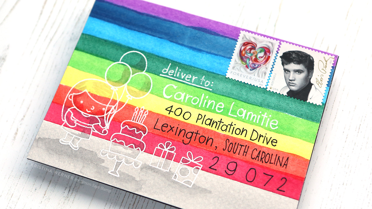 RAINBOW MAIL ART – Watercolor envelope, Monthly Mail Art, Simon Says Stamp