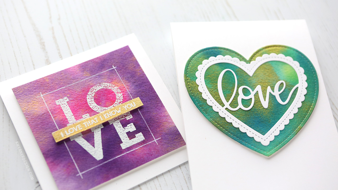 EASY SHIMMER WATERCOLOR Valentine's Day Cards