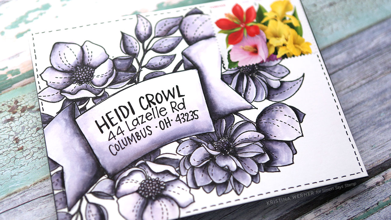 Monochromatic Watercolored Envelope – Monthly Mail Art (Simon Says Stamp)