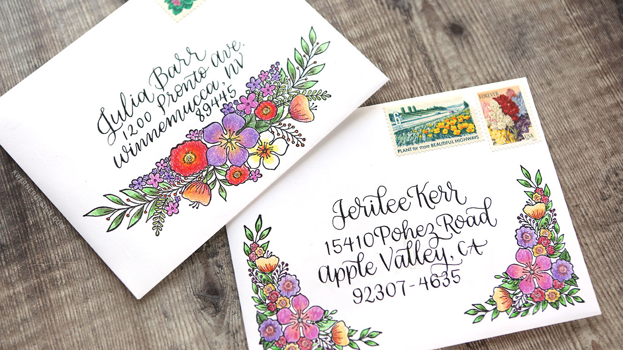 Floral Envelope Mail Art with Colored Pencils