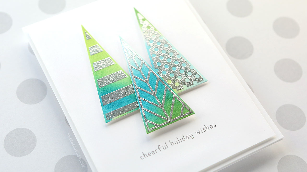 Holiday Card Series 2018 – Day 11 – Watercolored & Metallic Embossed Trees