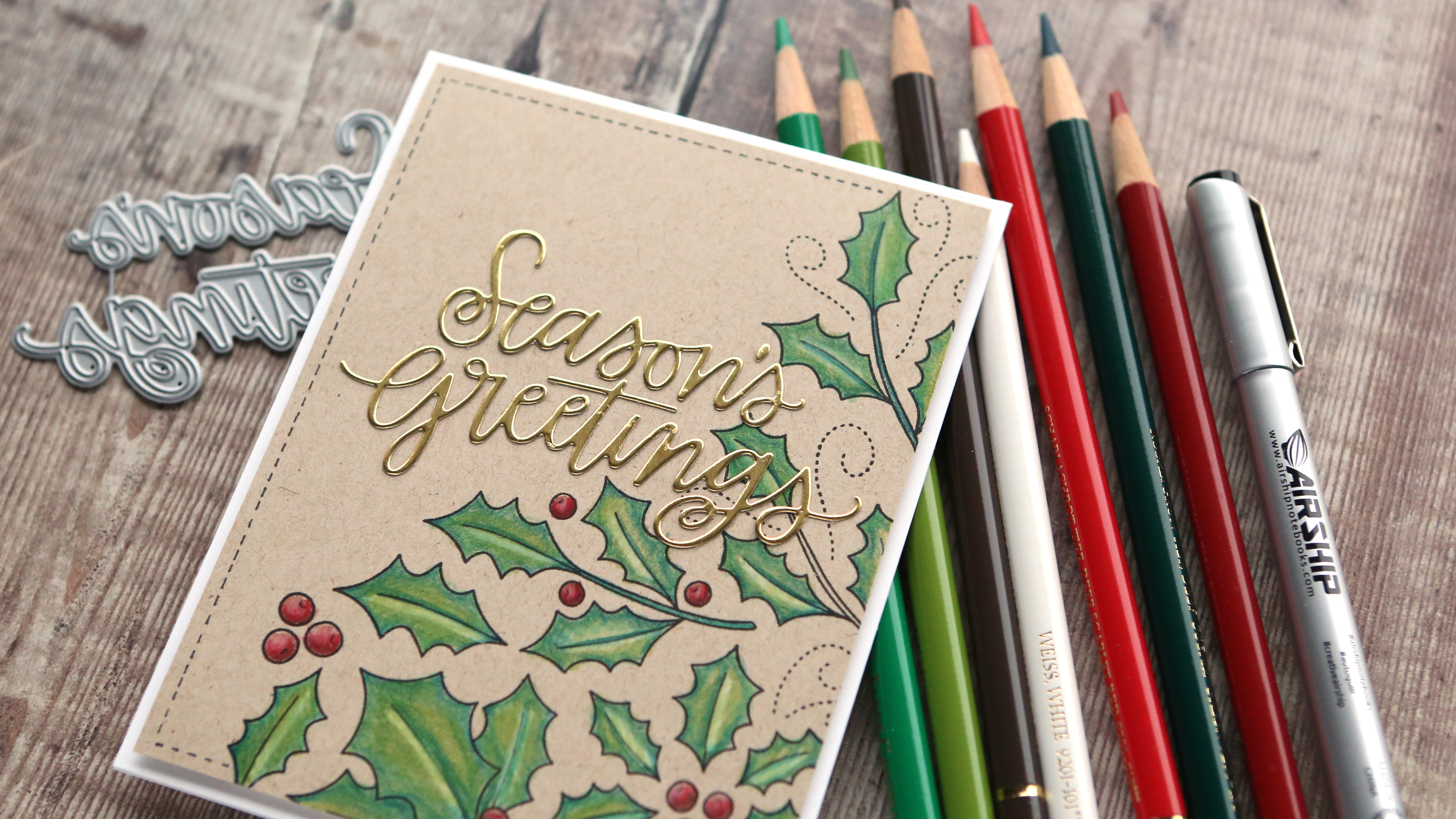Holiday Card Series 2018 – Day 24 – Colored Pencils on Kraft Cardstock