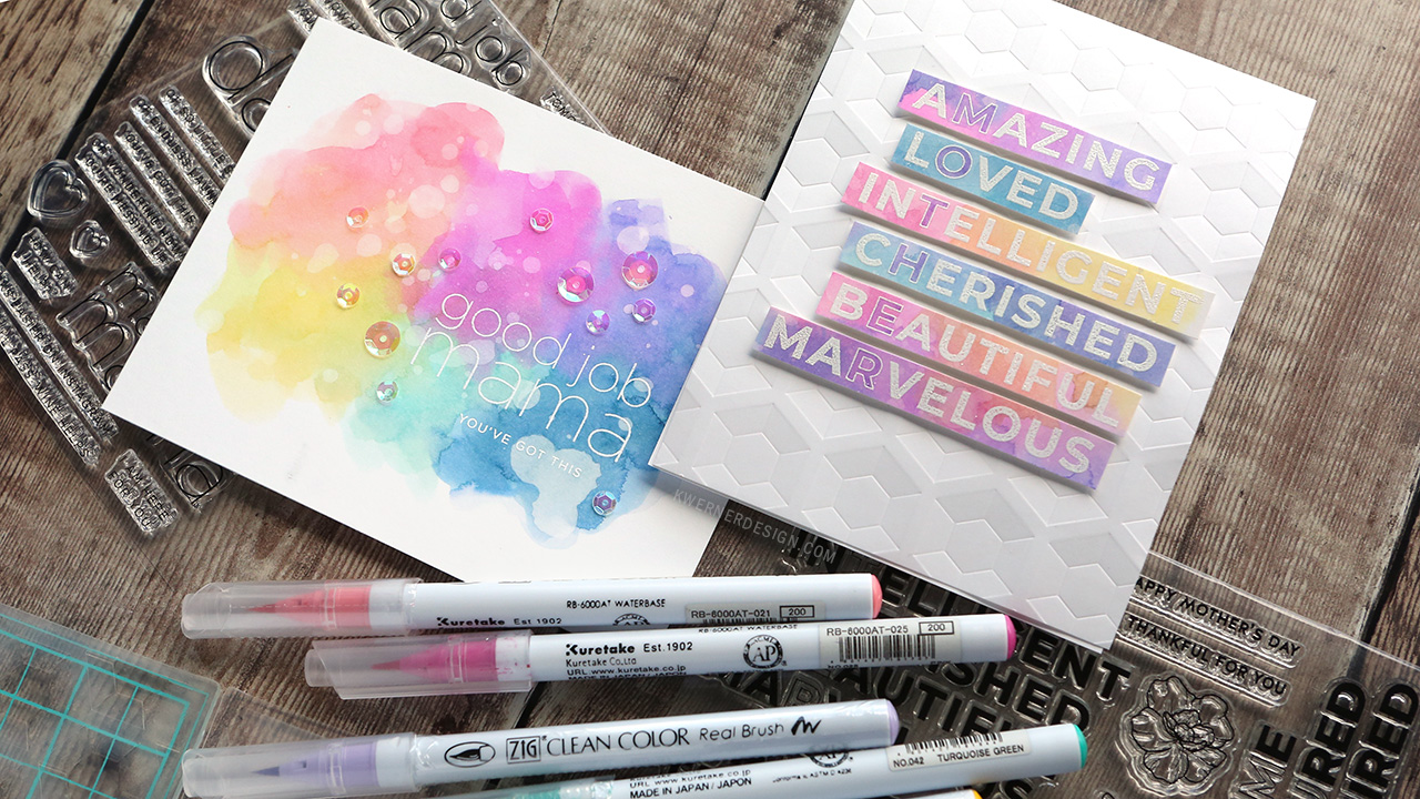 Colorful Watercolor Backgrounds with Zig Clean Color Real Brush Markers