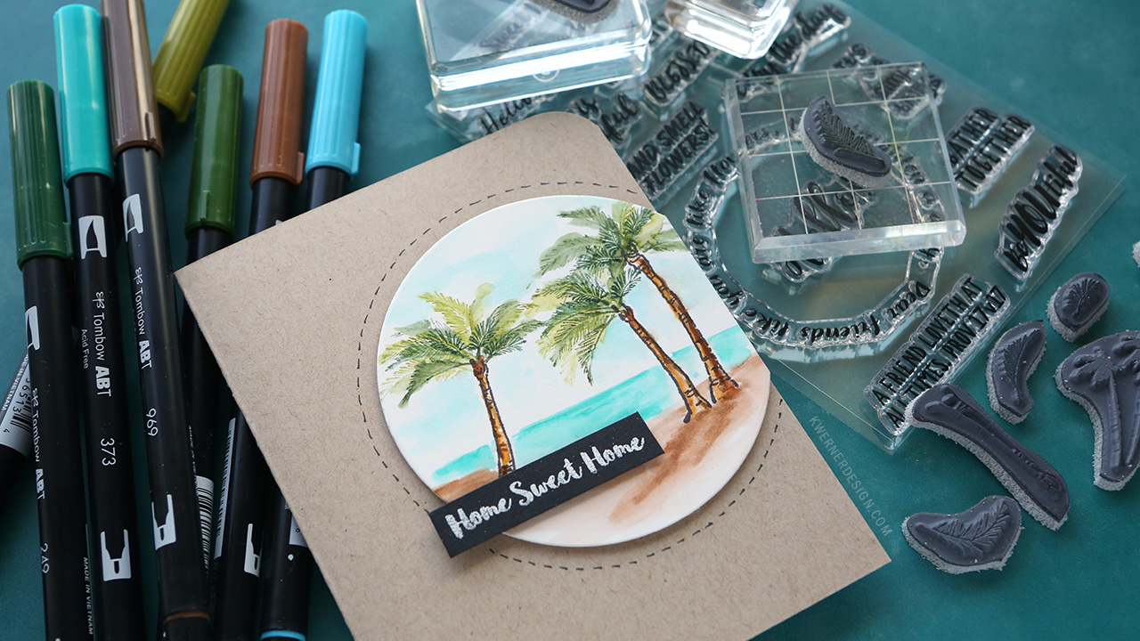 Watercolor Stamps from Art Impressions – Palm Tree Beach Scene