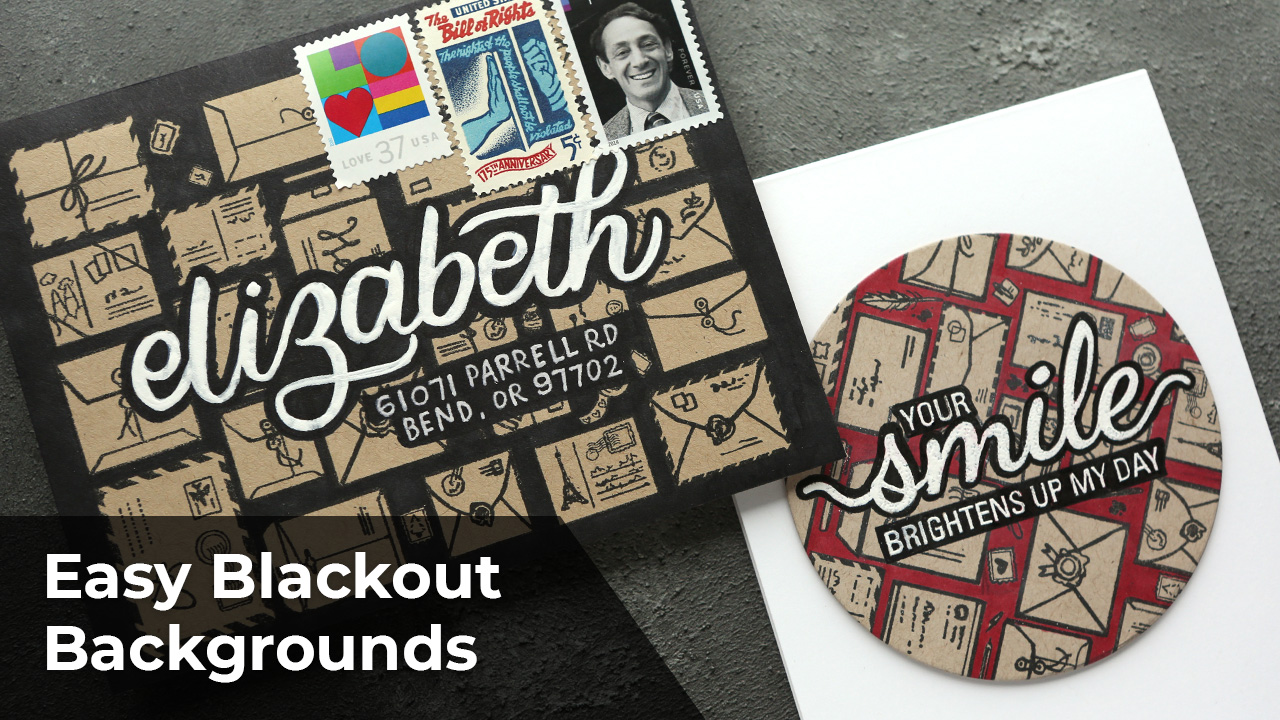 EASY Blackout Backgrounds + Brush Lettering Mail Art