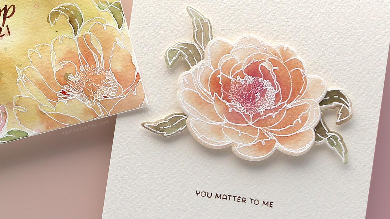 Watercolor Peonies Card & Envelope – Make a Card Monday #277