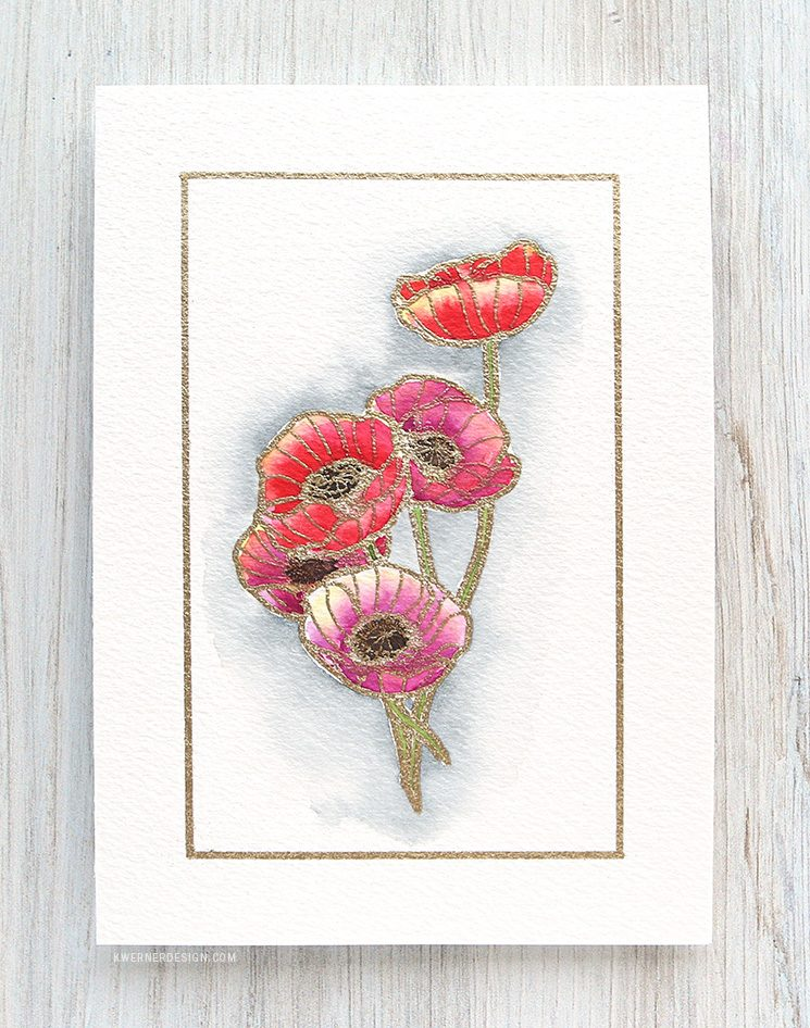 Watercolor Poppies & Brush Lettered Envelope