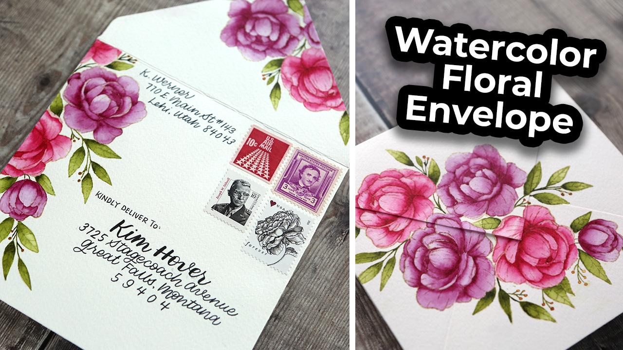 Watercolor Floral Envelope (No-Line Watercoloring)