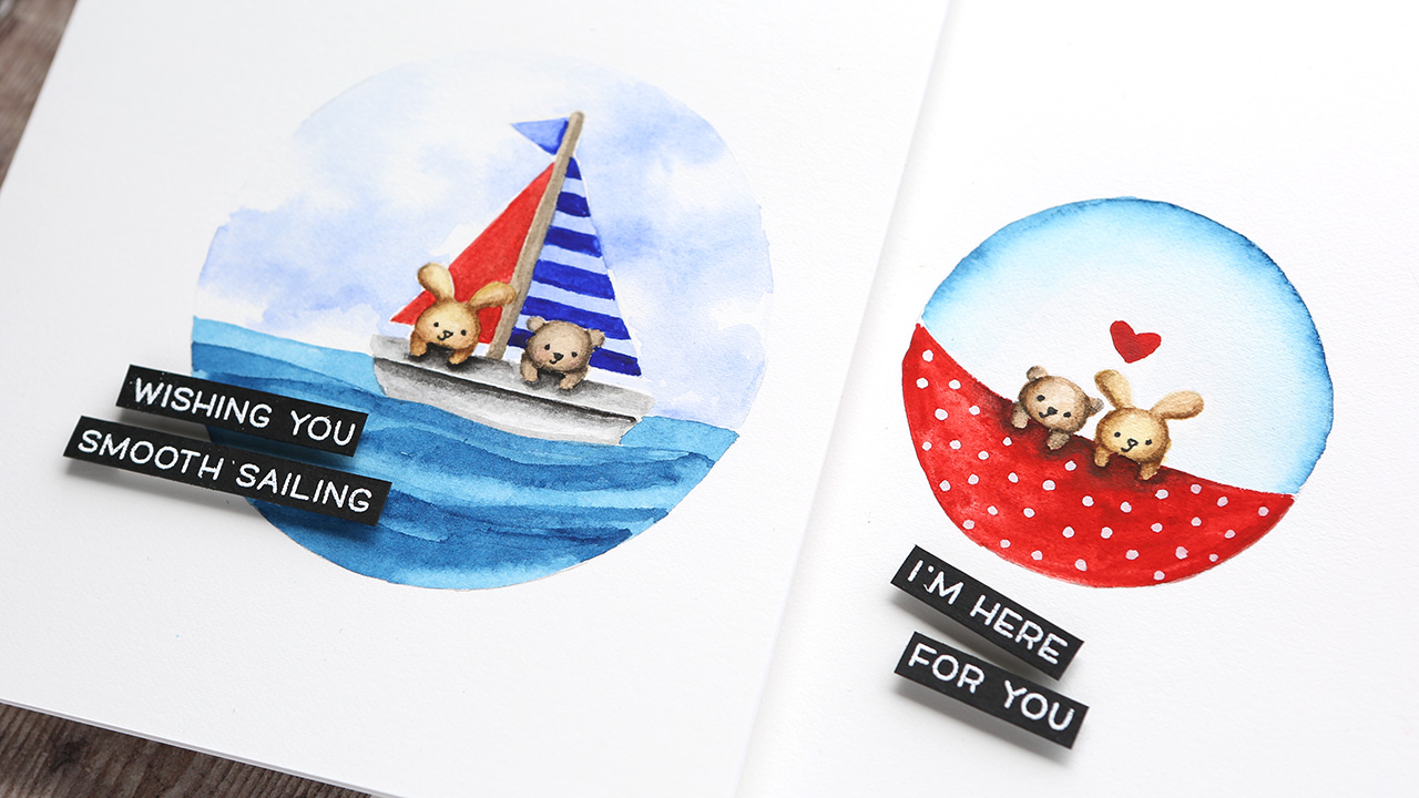 No-Line Watercoloring with Lawn Fawn Smooth Sailing