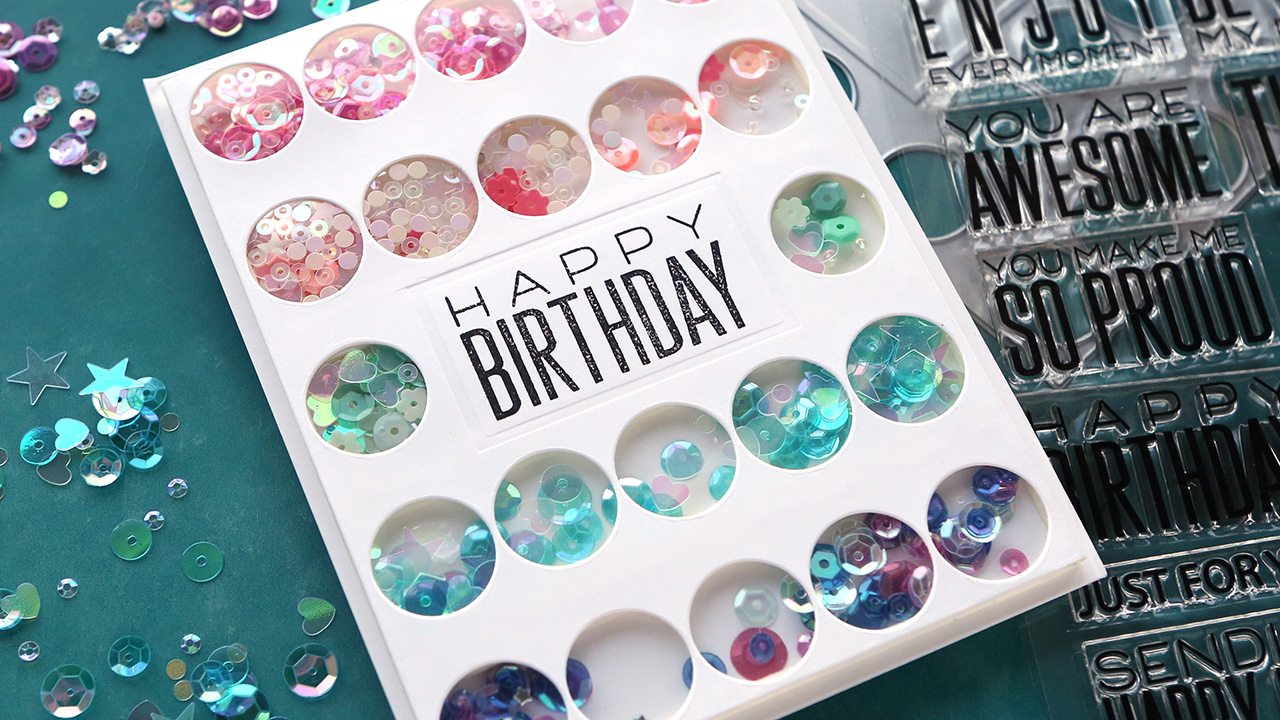 GORGEOUS SEQUINS! Fast Shaker Card Idea – Make a Card Monday #284