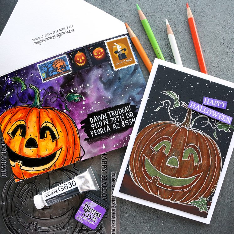 Halloween Card & Mail Art Envelope (NEW Stamps from Colorado Craft Co.)