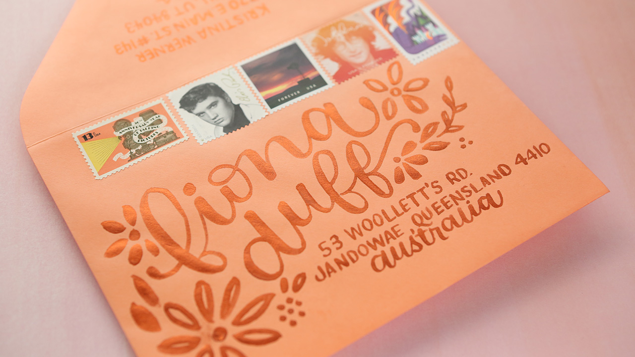Coral Mail Art Envelope – Lettering in Real Time