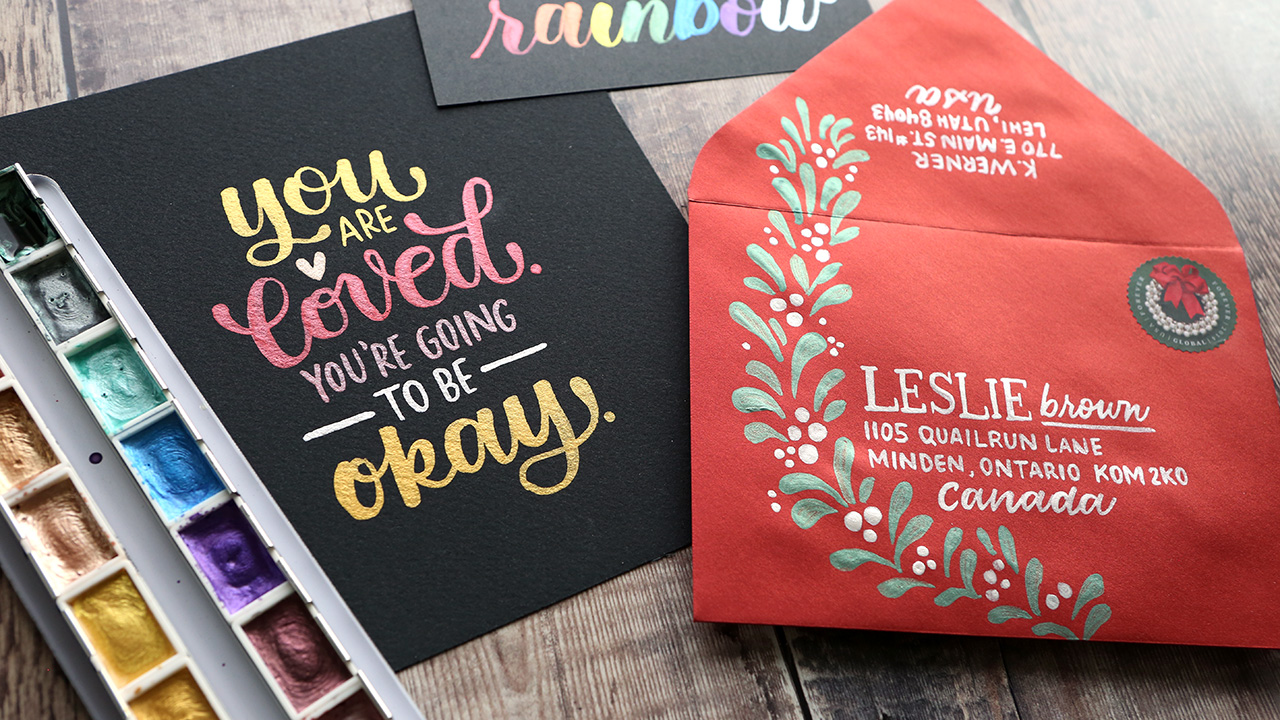Lettering with NEW Altenew Metallic Watercolors