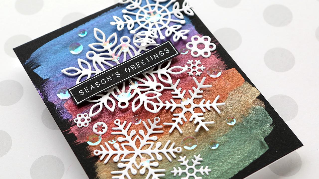 Holiday Card Series 2019 – Day 4 – Snowflakes & Metallic Rainbow