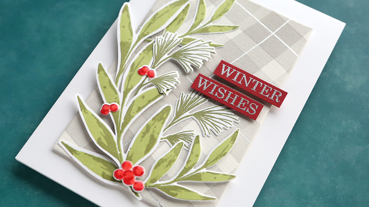 Holiday Card Series 2019 – Day 8 – Watercolor Plaid & Layered Stamping