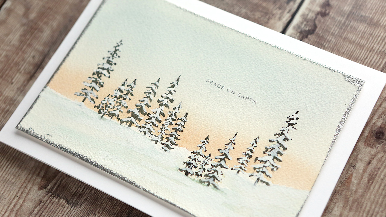 Holiday Card Series 2019 – Day 18 – Watercolor Scene with Stamps