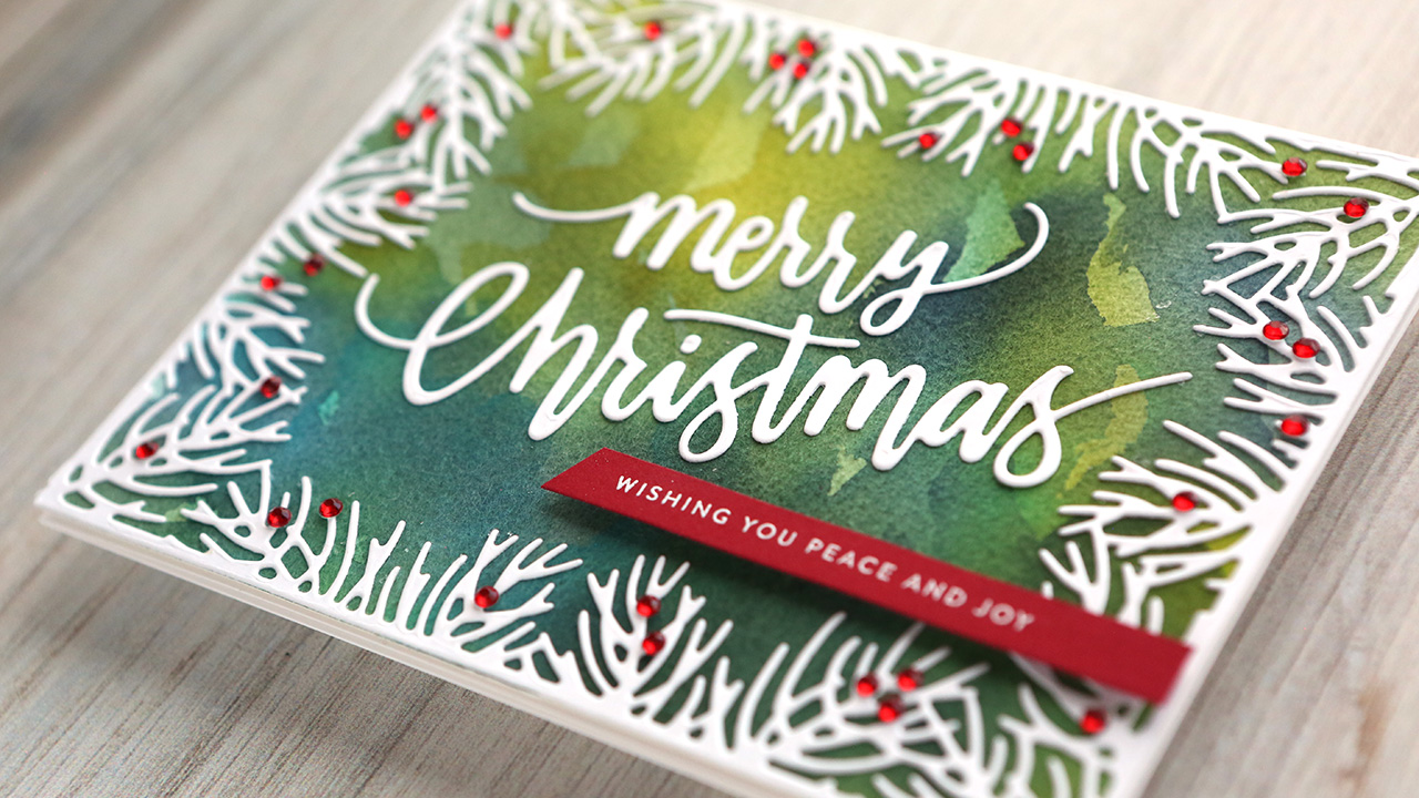 Holiday Card Series 2019 – Day 20 – Watercolor Background with Diecut Frame