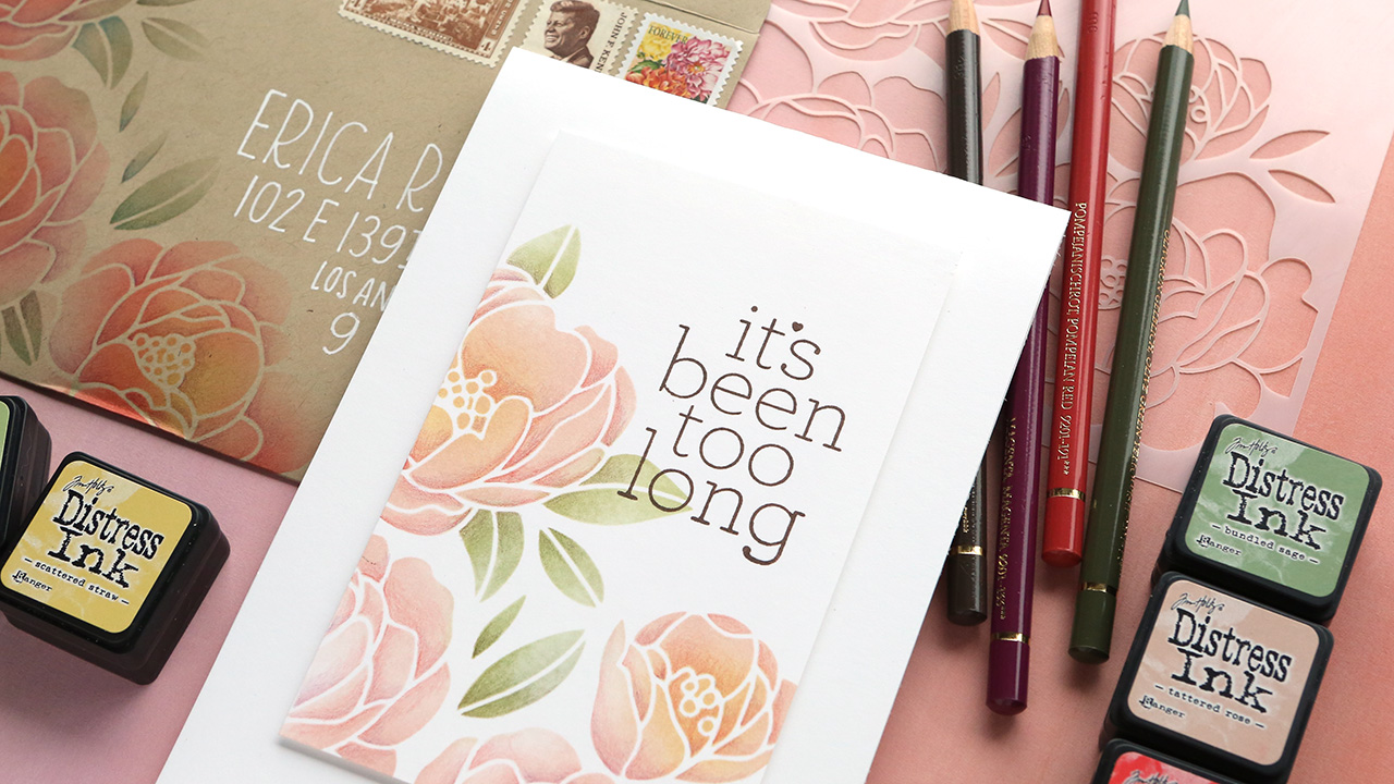 SO FAST & EASY! Colored Pencils Over Stenciled Ink Blending