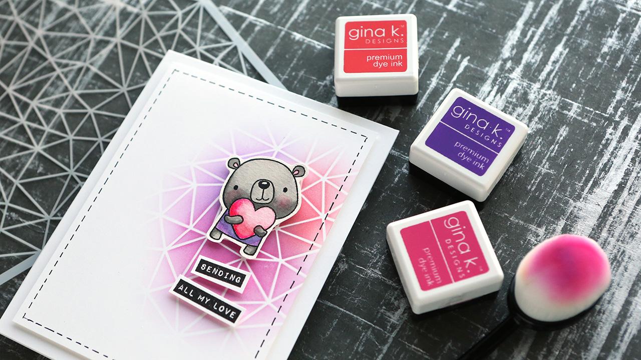 Capsule Card 5 – Cute Valentine's Bear, Easy Ink Blending & Watercoloring