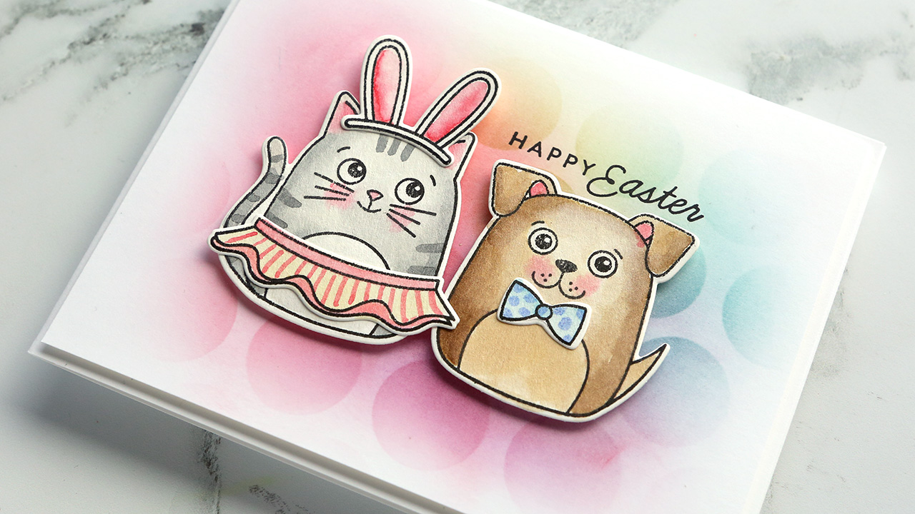 Easter Card with Cat & Dog – Watercoloring with Distress Inks