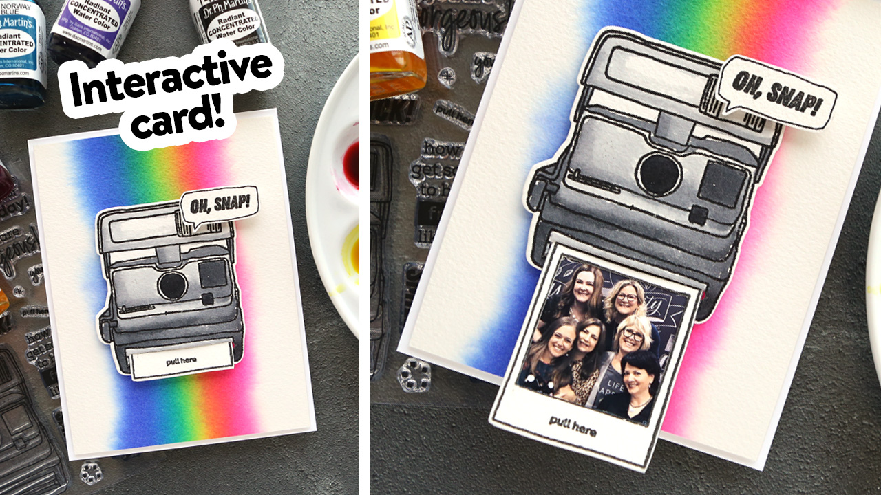 Interactive Camera Card with Bright Watercolor!