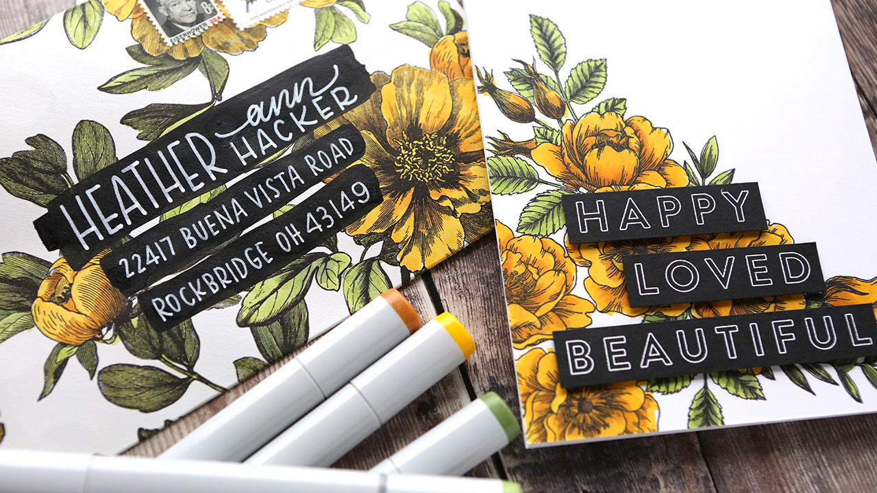 Coloring Patterned Paper with Markers (Mail Art Envelope + Card)
