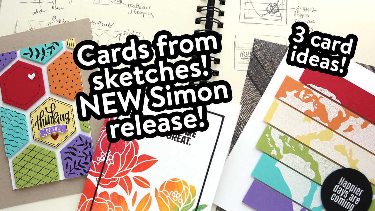 Colorful Rainbow Cards using NEW Simon Stamps & Dies