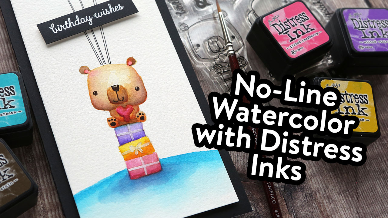 No-Line Watercolor on Slimline Card – NEW Release from Reverse Confetti