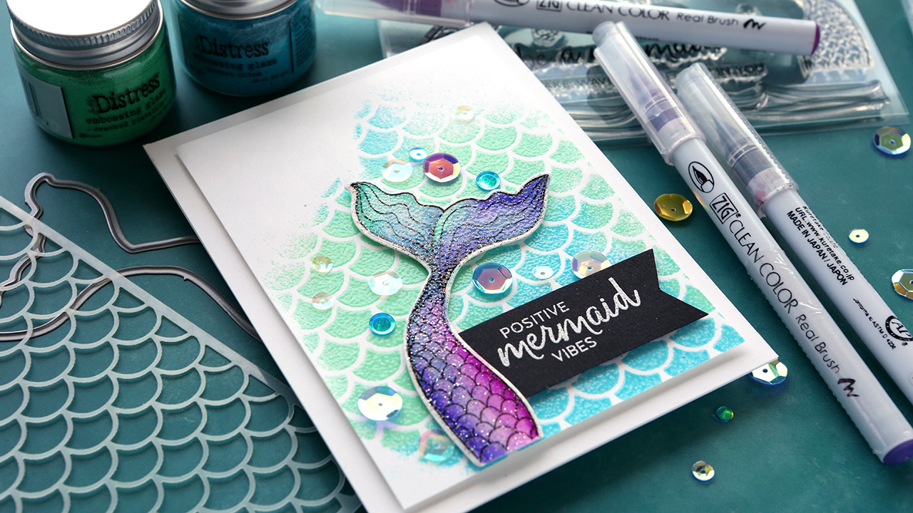 3 Types of Embossing Powder on 1 card!