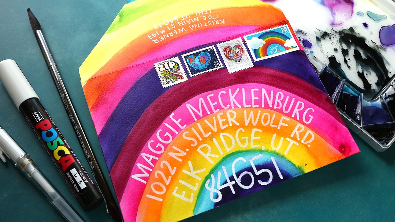 SUPER EASY Mail Art Idea! Colorful Rainbow Envelope!