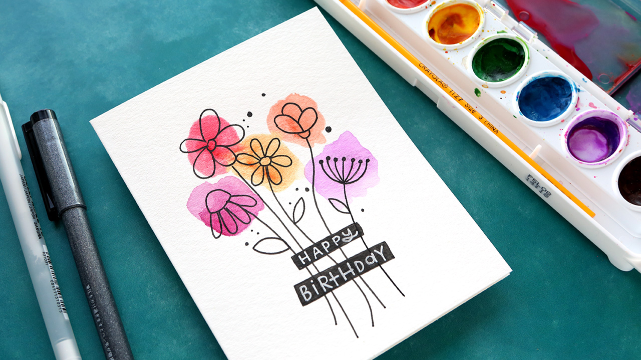 EASY DIY Watercolor Card – Budget Friendly Paints!