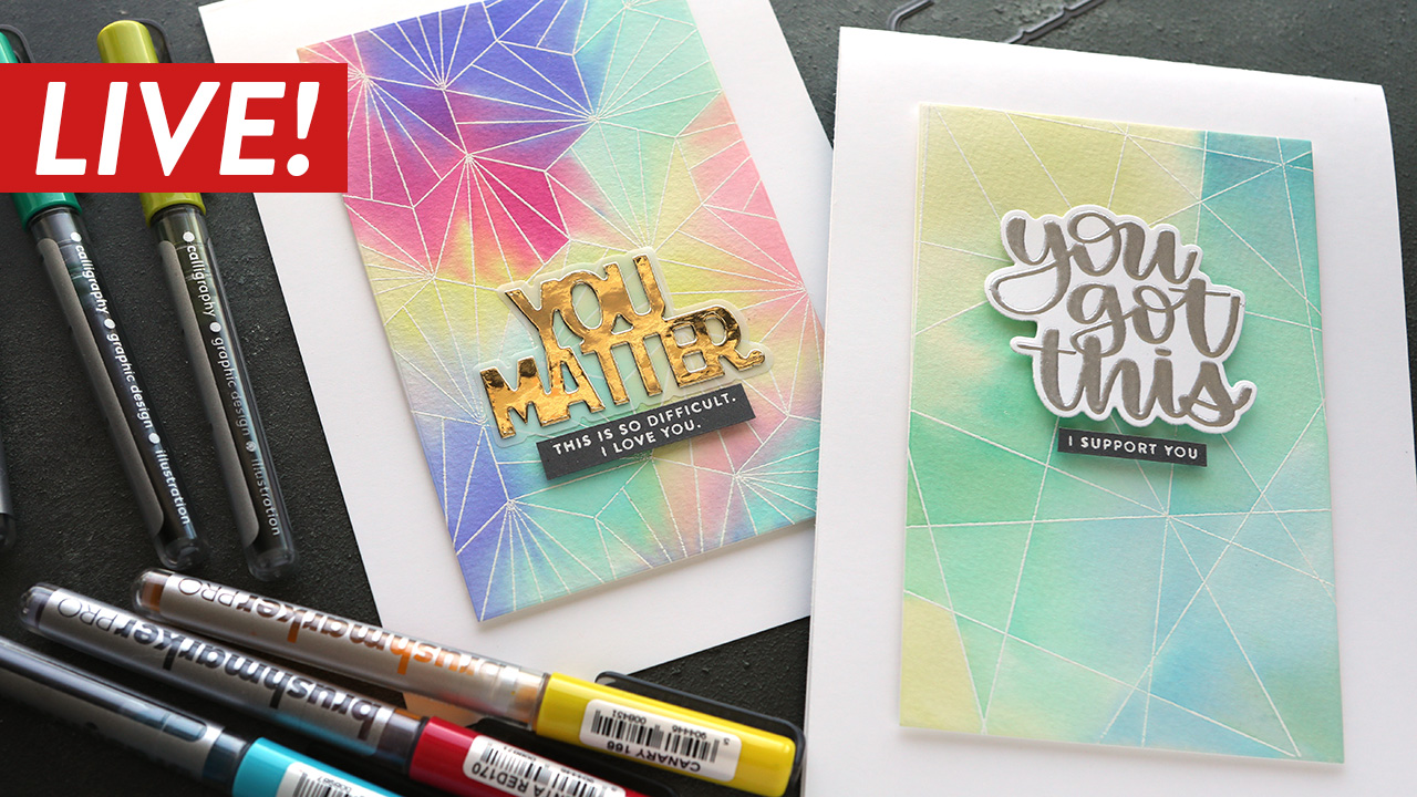 LIVE REPLAY – Watercolor Background with Karin Markers!