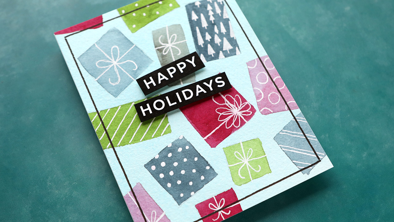 Holiday Card Series 2020 – Day 11 – Simple Watercolor (no stamps or dies)