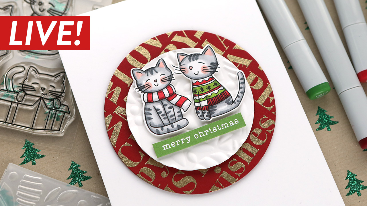 LIVE REPLAY! Holiday Card Series 2020 – Day 12 – Copic Christmas Kitties