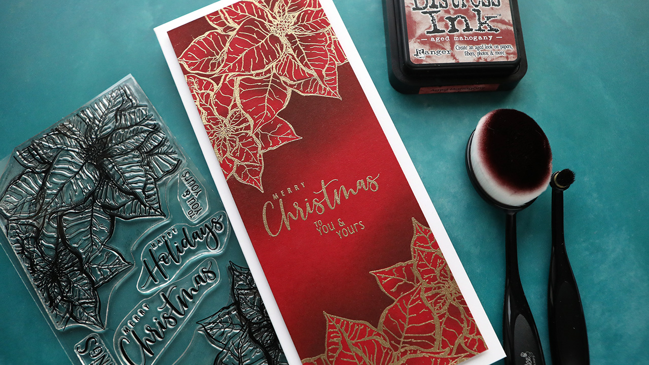 Holiday Card Series 2020 – Day 19 – Ink Blending Over Embossing