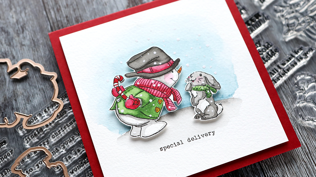 Holiday Card Series 2020 – Day 23 – Snowman Watercolor Scene