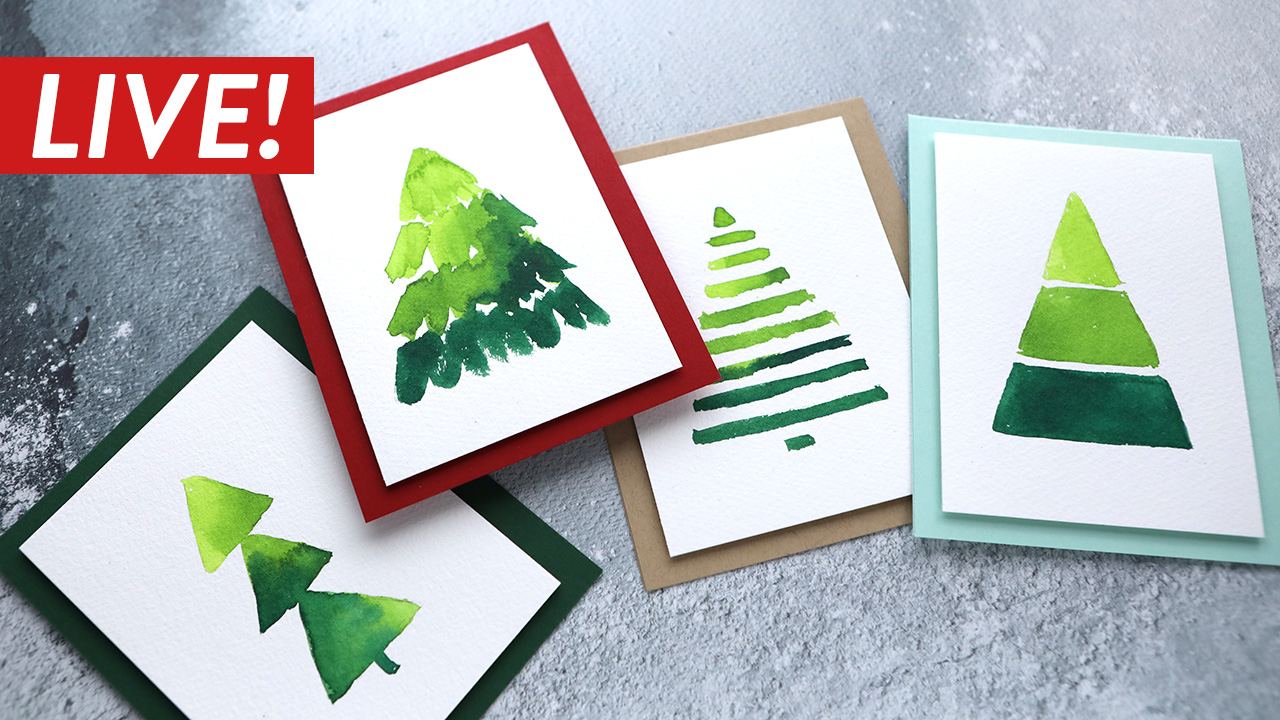 LIVE REPLAY! Paint with me! – Easy Watercolor Christmas Trees!