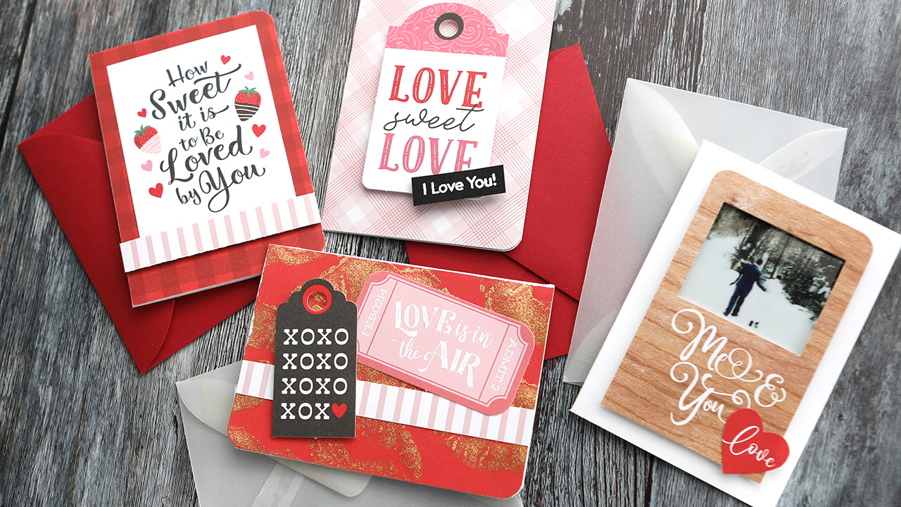 Valentine's Day Card Series 2021 – Day 3 – Four Mini Love Cards & Envelopes!