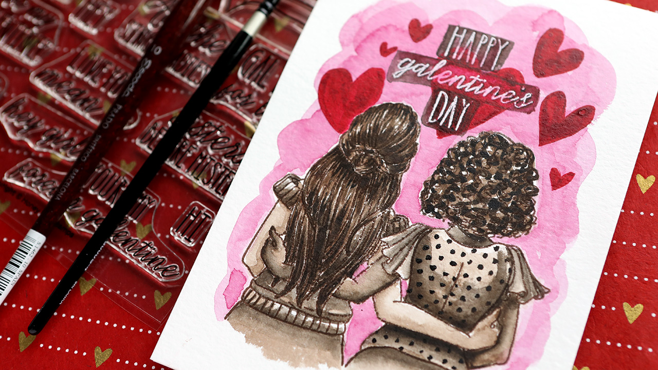 Monochromatic Watercolor (Galentine's Day) – Valentine's Day Card Series 2021 – Day 10