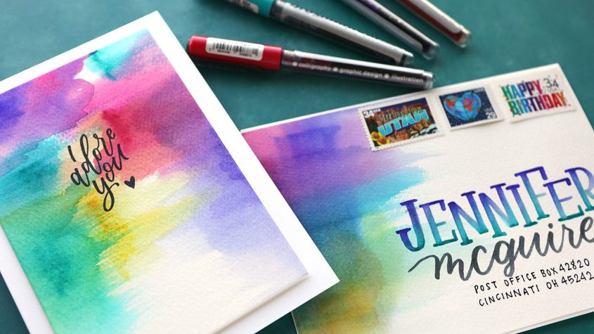 Abstract Watercolor Backgrounds with Karin Markers (plus a bit of mail art)