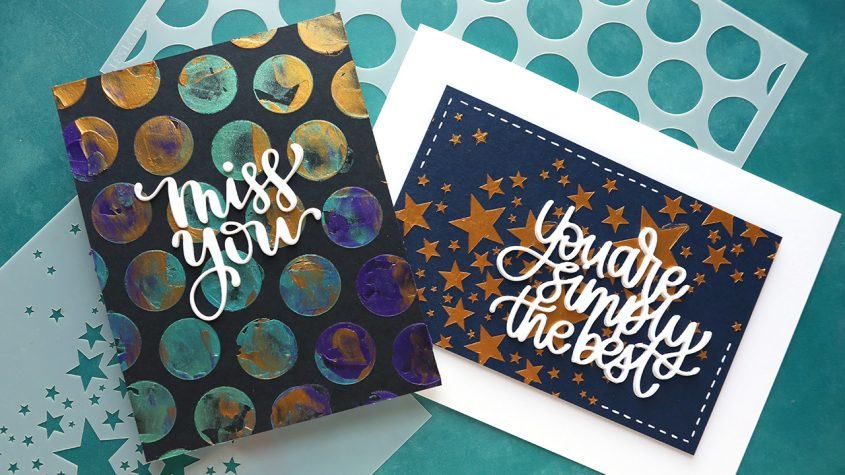 EASY & QUICK Cards with Stencils and Paper Glaze