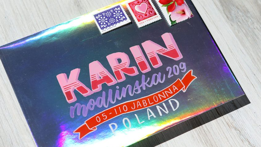 Karin Pigment DecoBrush Markers on a Holographic Envelope + First Impressions