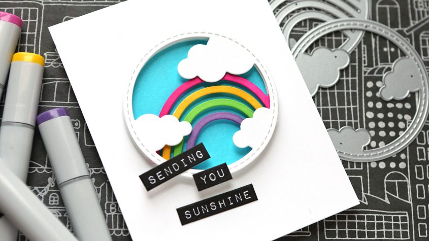 LIVE REPLAY! Easy Layered Circle Rainbow! (Card completed in 30 minutes!)