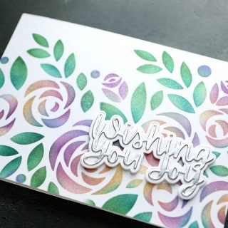 🎥 Check out today's how-to video! I used lots of colors while ink blending through the new XL Rose Bouquet stencil from @simonsaysstamp. Plus, some added shimmer! Watch the video at the link in my bio. (Just tap on my name and then go to the link listed on my profile). #kwernerdesigncards