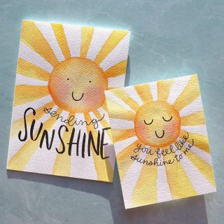 Bringing you all the sunshine in my livestream tonight! 😎 All watercolor on these cuties--no stamps or dies! Watch the full-length or edited replay--your choice--at the link in my bio. #kwernerdesigncards